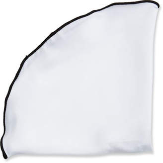 Edward Armah Contrast-Border Silk Pocket Circle, Black/White
