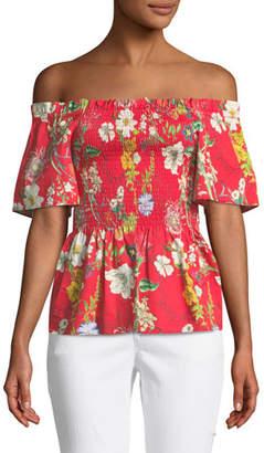 Parker Penn Off-the-Shoulder Floral-Print Blouse