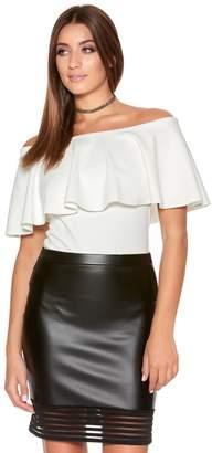 Quiz Black PU Mini Bodycon Mesh Skirt