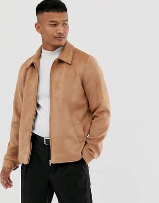 Asos Design DESIGN faux suede zip through jacket in tan