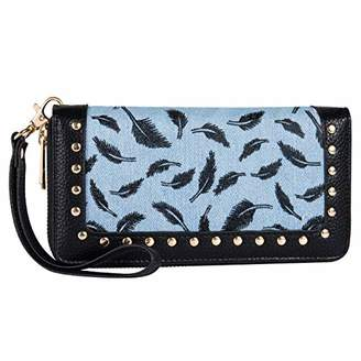 Heaye Women Feather Wallet Double Zip Around Wristlet with Perforated Stud RFID Blocking