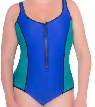 Donatella Sport Women's Plus-Size Neoprene ColorblockV-Neck One-Piece Swimsuit With Chunky Zipper