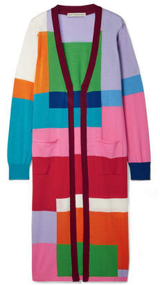 Mary Katrantzou Peyton Color-block Wool Cardigan - Purple