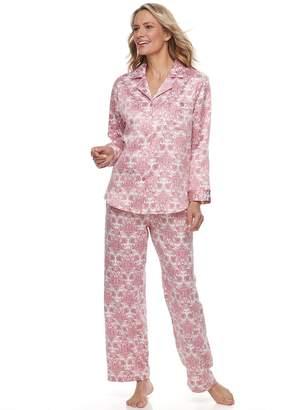 Miss Elaine Women's Essentials Satin Shirt & Pants Pajama Set