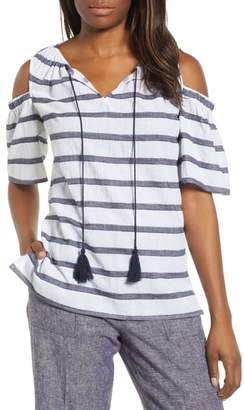 Chaus Stripe Cold Shoulder Cotton Gauze Top