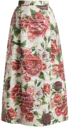 Dolce & Gabbana Peony and rose-print high-rise midi skirt