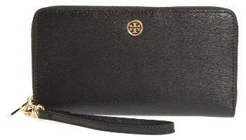 Women's Tory Burch Parker Leather Continental Wallet - Black