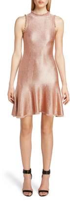Alexander McQueen Ruffle Trim Metallic Ribbed Dress