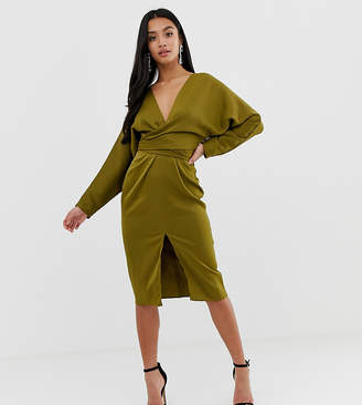 2d9675b7f0f6 Asos DESIGN Petite midi dress with batwing sleeve and wrap waist in satin