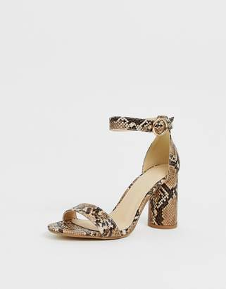 Pimkie block heeled sandals in snake print