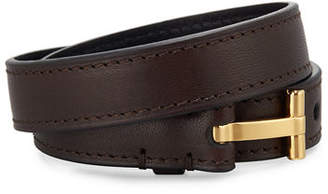 TOM FORD Men's Double-Wrap Leather T-Buckle Bracelet $450 thestylecure.com