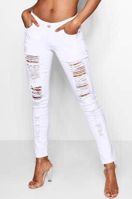 boohoo White Ripped Jeans