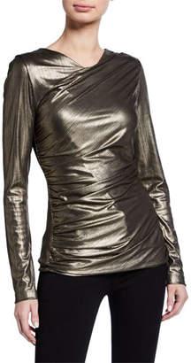 Elie Tahari Sadira Metallic Long-Sleeve Ruched Knit Top
