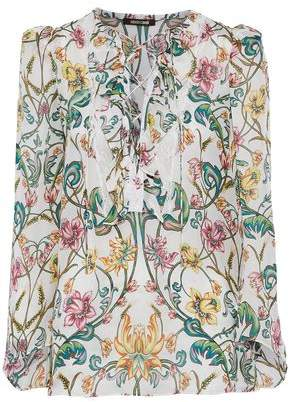 Roberto Cavalli Lace-Up Ruffle-Trimmed Floral-Print Silk Crepe De Chine Blouse