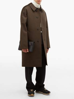 Maison Margiela Outlined Single Breasted Checked Wool Coat - Mens - Brown