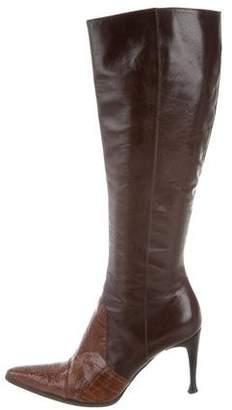 Sergio Rossi Ostrich Leg Mid-Calf Boots