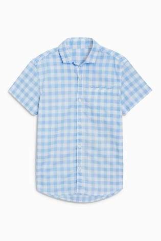 Boys Light Blue Short Sleeve Gingham Shirt (3-16yrs) - Blue