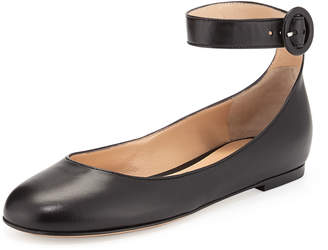 Gianvito Rossi Leather Ankle-Strap Ballet Flats