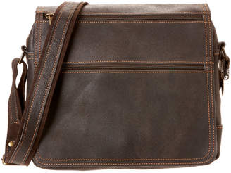 David King & Co Distressed Double Zip Leather Messenger