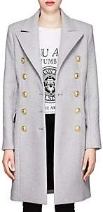 Balmain Women's Wool-Cashmere Melton Long Military Coat - Lt Gray