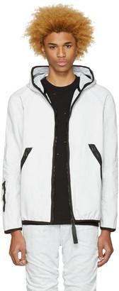 Raw Research Blue Denim Strett Gymbag Jacket $460 thestylecure.com