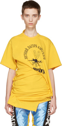 Junya Watanabe Yellow Ruched Side T-Shirt $455 thestylecure.com