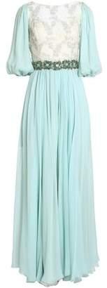 Dolce & Gabbana Lace-paneled Crystal-embellished Silk-blend Georgette Gown
