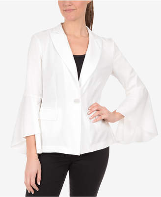 NY Collection Bell-Sleeve Single-Button Blazer