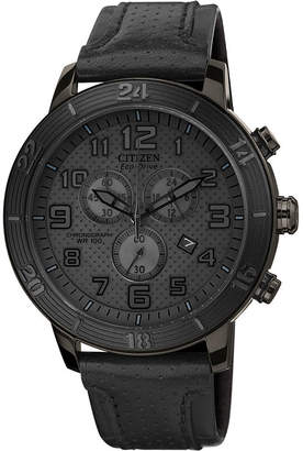 DRIVE FROM CITIZEN ECO-DRIVE Drive from Citizen Eco-Drive Mens Black Leather-Strap Chronograph Watch AT2205-01E