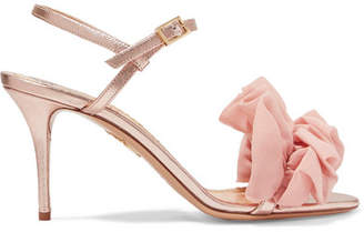 Charlotte Olympia Reia Chiffon-trimmed Metallic Textured-leather Sandals - Pink