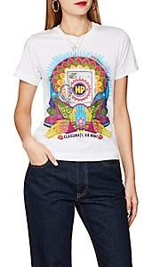 HORN PLEASE Women's Peacock-Print Cotton T-Shirt - White