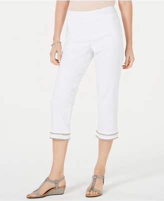 JM Collection Petite Embellished Tummy-Control Capri Pants