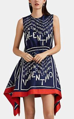Valentino Women's Logo-Print Silk Dress - Blue