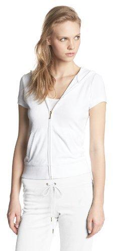 Juicy Couture Women's Solid Micro Terry Short Sleeve Zip Jacket