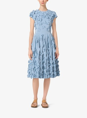 Michael Kors Floral-Embroidered Silk-Faille Dress