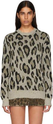 R 13 Beige Cashmere Leopard Sweater