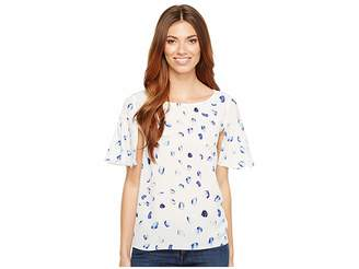 CeCe Short Bell Sleeve Floating Petals Blouse Women's Blouse