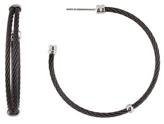Alor Black-Plated Stainless Steel Hoop Earrings