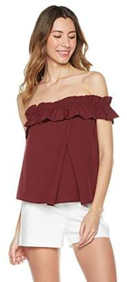 Plumberry Women's Summer One Shoulder Woven Ruffle Casual Blouse L