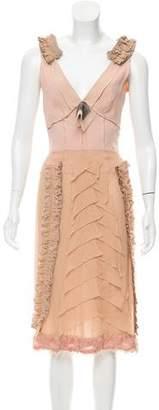Prada Ruffle-Trimmed Midi Dress