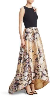 Theia Mikado Print Hi-Lo Gown