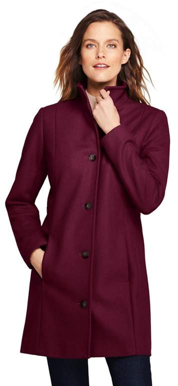 Red Petite Fit And Flare Wool Blend Coat