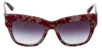 Dolce & Gabbana Floral Print Oversize Wayfarer Sunglasses Red Floral Print Oversize Wayfarer Sunglasses
