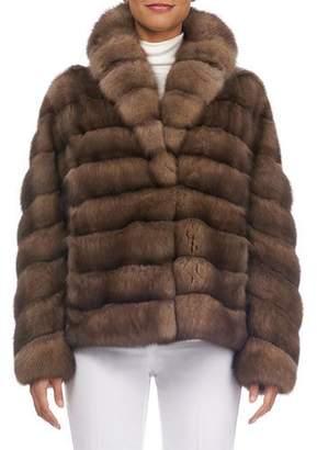 Gorski Shawl-Collar Horizontal Sable Jacket