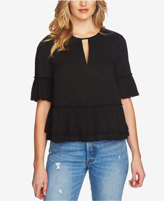 1 STATE 1.state Ruffled Keyhole Top