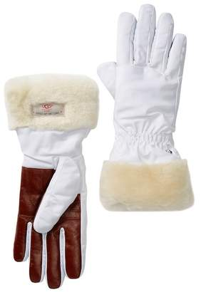 UGG Genuine Dyed Shearling Trim Tech Gloves