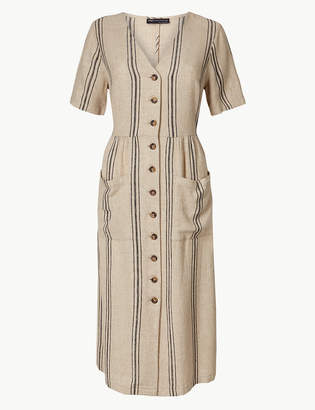 Marks and Spencer PETITE Striped Waisted Midi Dress