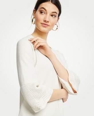 Ann Taylor Petite Crochet Yoke Sweater