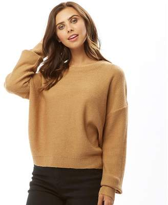 Brave Soul Womens Grungel Boxy Scoop Neck Jumper Spiced Camel