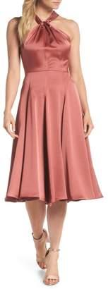 Gal Meets Glam Jaqueline Twist Front Halter Neck Satin Dress